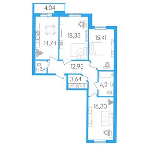 Планировка Трёхкомнатная квартира площадью 89.99 кв.м в Жилой Дом «Капитан Немо»