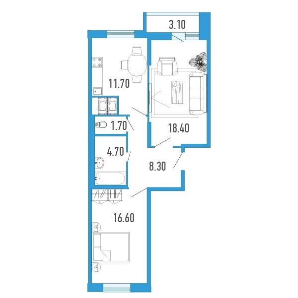 Планировка Двухкомнатная квартира площадью 63 кв.м в Жилой Дом «