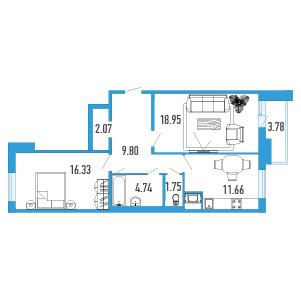Планировка Двухкомнатная квартира площадью 67.19 кв.м в Жилой Дом «Капитан Немо»