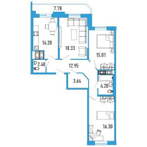Планировка Трёхкомнатная квартира площадью 90.92 кв.м в Жилой Дом «Капитан Немо»
