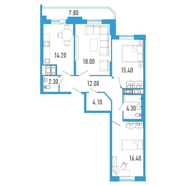 Планировка Трёхкомнатная квартира площадью 90.6 кв.м в Жилой Дом «