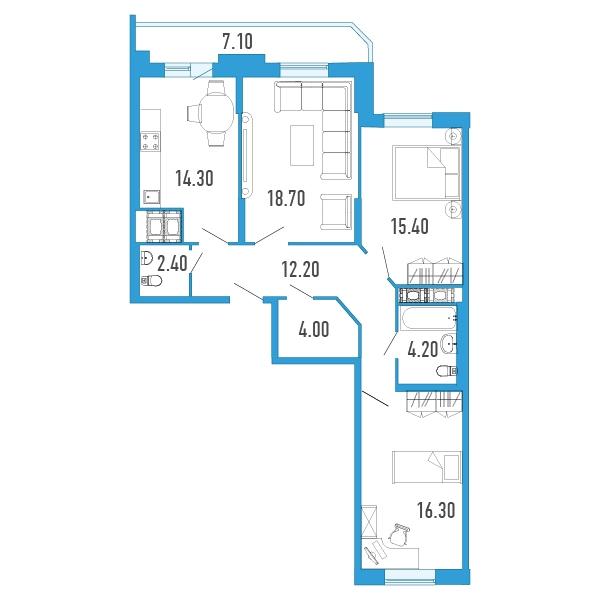 Планировка Трёхкомнатная квартира площадью 91.1 кв.м в Жилой Дом «