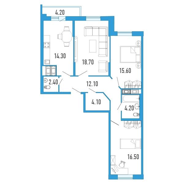 Планировка Трёхкомнатная квартира площадью 90 кв.м в Жилой Дом «