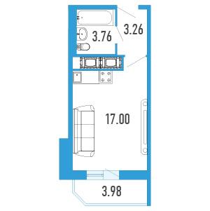 Планировка Однокомнатная квартира площадью 26.01 кв.м в Жилой Дом «Капитан Немо»